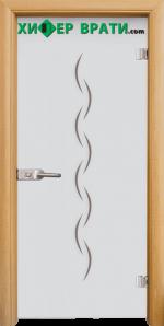 Стъклена интериорна врата модел Gravur G 13-1, каса Светъл дъб