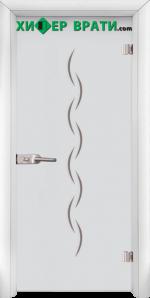 Стъклена интериорна врата модел Gravur G 13-1, каса Бяла