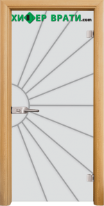 Стъклена интериорна врата модел Gravur G 13-2, каса Светъл дъб