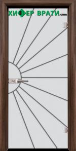 Стъклена интериорна врата модел Gravur G 13-2, каса Орех