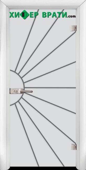 Стъклена интериорна врата модел Sand G 13-2, каса Бяла