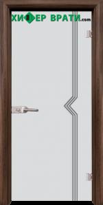 Стъклена интериорна врата модел Gravur G 13-3, каса Орех