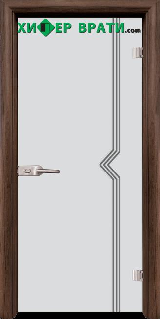 Стъклена интериорна врата модел Sand G 13-3, каса Орех