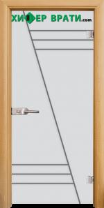 Стъклена интериорна врата модел Gravur G 13-4, каса Светъл дъб