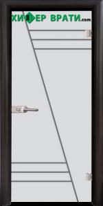 Стъклена интериорна врата модел Gravur G 13-4, каса Венге