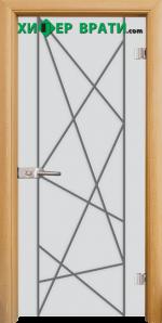 Стъклена интериорна врата модел Gravur G 13-5, каса Светъл дъб
