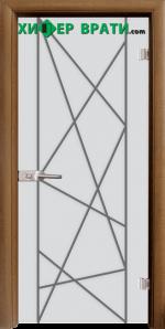 Стъклена интериорна врата модел Gravur G 13-6, каса Златен дъб
