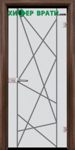 Стъклена интериорна врата модел Gravur G 13-5, каса Орех