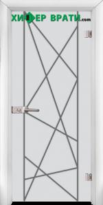 Стъклена интериорна врата модел Gravur G 13-5, каса Бяла
