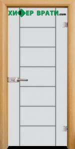 Стъклена интериорна врата модел Gravur G 13-6, каса Светъл дъб