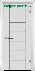 Стъклена интериорна врата модел Gravur G 13-6, каса Бяла