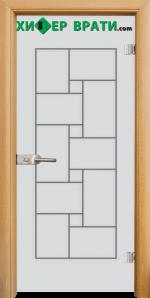 Стъклена интериорна врата модел Gravur G 13-7, каса Светъл дъб