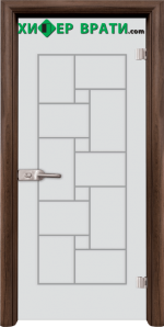 Стъклена интериорна врата модел Gravur G 13-7, каса Светъл дъб Орех