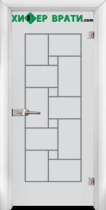 Стъклена интериорна врата модел Gravur G 13-7, каса Бяла