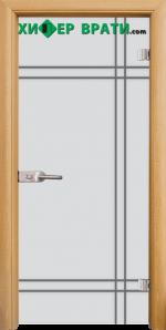 Стъклена интериорна врата модел Gravur G 13-8, каса Светъл дъб