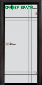 Стъклена интериорна врата модел Gravur G 13-8, каса Венге