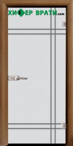 Стъклена интериорна врата модел Gravur G 13-8, каса Златен дъб