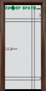 Стъклена интериорна врата модел Gravur G 13-8, каса Орех