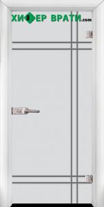 Стъклена интериорна врата модел Gravur G 13-8, каса Бяла
