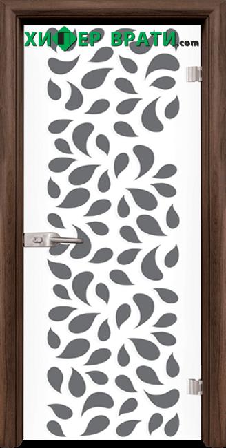 Стъклена интериорна врата модел Print G 13-1, каса Орех