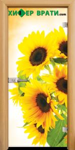 Стъклена интериорна врата модел Print G 13-4, каса Светъл дъб