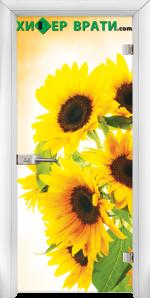 Стъклена интериорна врата модел Print G 13-4, каса Бяла