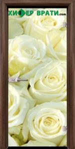Стъклена интериорна врата модел Print G 13-6, каса Орех