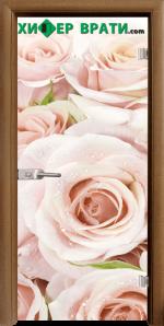 Стъклена интериорна врата модел Print G 13-7, каса Златен дъб