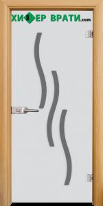 Стъклена интериорна врата модел Sand G 14-2, каса Светъл дъб