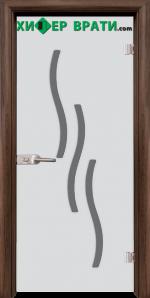 Стъклена интериорна врата модел Sand G 14-2, каса Орех