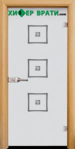 Стъклена интериорна врата модел Sand G 14-3, каса Светъл дъб