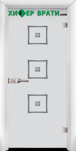Стъклена интериорна врата модел Sand G 14-3, каса Бяла