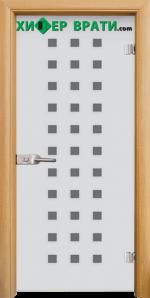 Стъклена интериорна врата модел Sand G 14-4, каса Светъл дъб