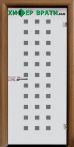 Стъклена интериорна врата модел Sand G 14-4, каса Златен дъб