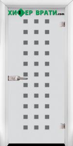 Стъклена интериорна врата модел Sand G 14-4, каса Бяла