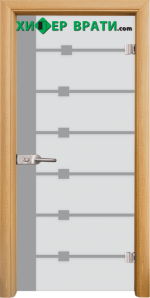 Стъклена интериорна врата модел Sand G 14-5, каса Светъл дъб