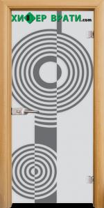 Стъклена интериорна врата модел Sand G 14-6, каса Светъл дъб