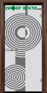 Стъклена интериорна врата модел Sand G 14-6, каса Орех