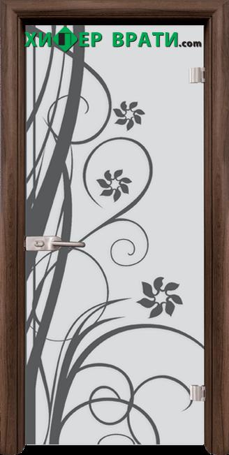 Стъклена интериорна врата модел Sand G 14-7, каса Орех