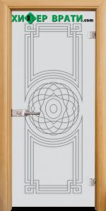 Стъклена интериорна врата модел Sand G 14-8, каса Светъл дъб