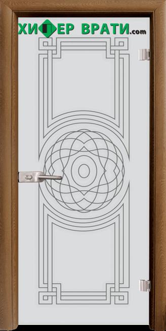 Стъклена интериорна врата модел Sand G 14-8, каса Златен дъб