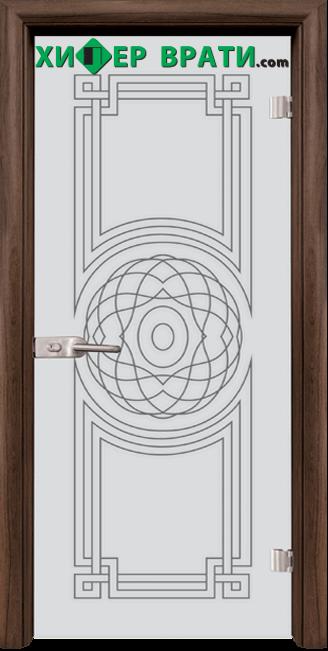 Стъклена интериорна врата модел Sand G 14-8, каса Орех