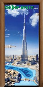 Стъклена интериорна врата модел Print G 13-16, каса Златен дъб