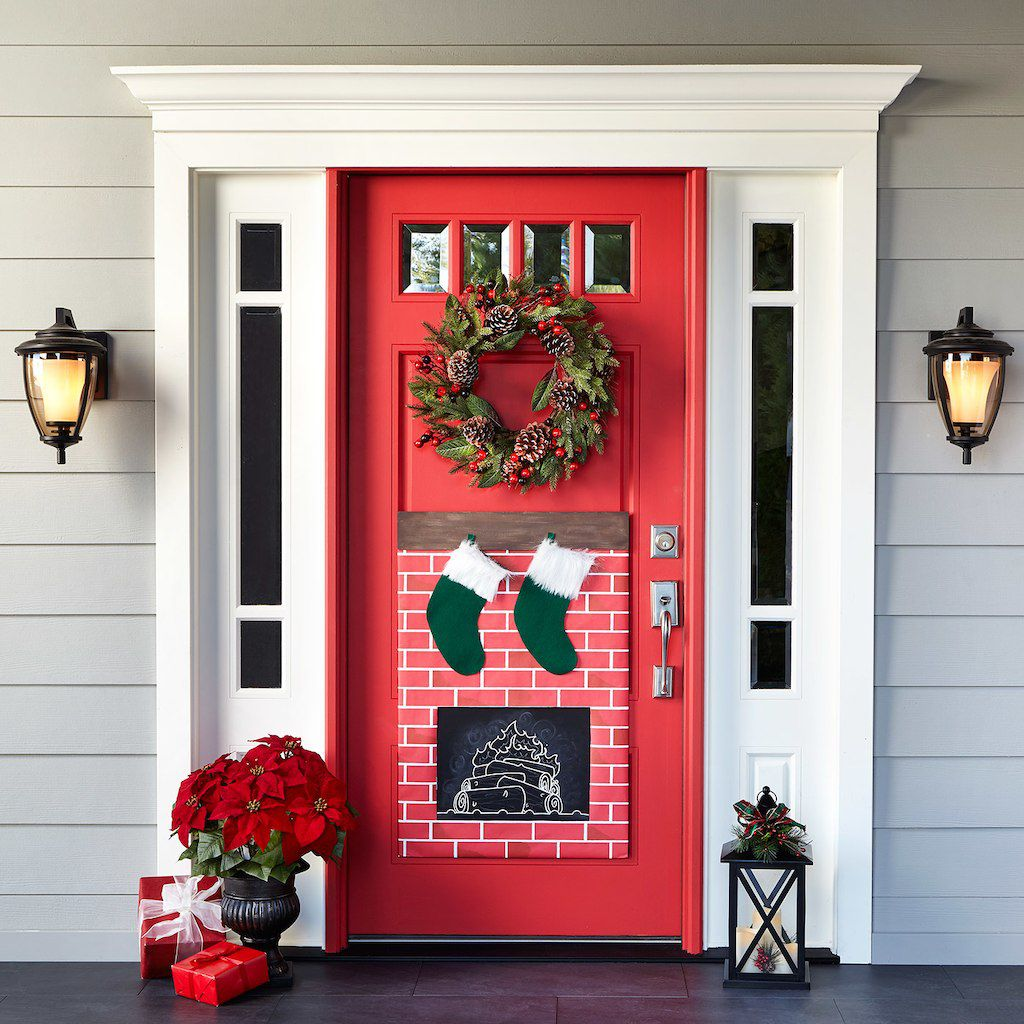 Украсяване на входната врата за Коледа