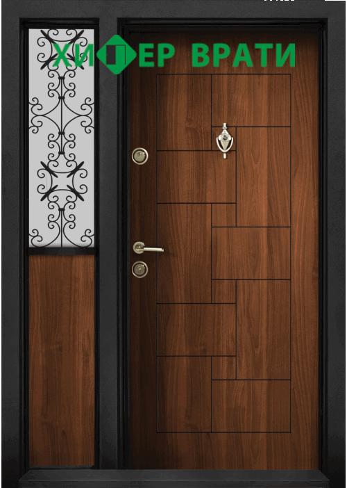Двукрила входна врата Т-100, цвят Златен дъб