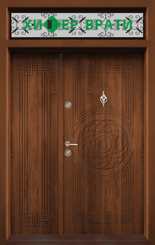 Двукрила входна врата Т-110, цвят Златен дъб